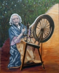 Irish spinning woman