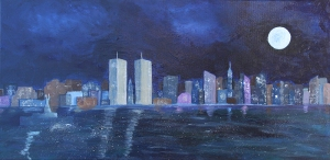The New York I Recall painting by Maura Satchell, includes the Twin Towers of the World Trade Center and the Statue of Liberty. Reclaiming New York in a 9/11 homage