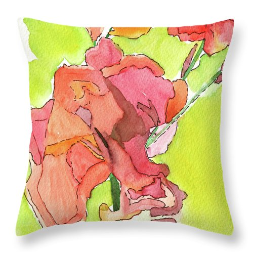 Trumpet vine blossom art licensed watercolor painting print by contemporary artist Maura Satchell