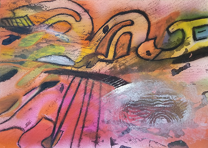 """""""Cynosure"""" abstract mixed media painting on paper by contemporary artist Maura Satchell"""