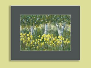 Birches and Daylilies painting by Maura Satchell featuring yellow flowers against gray, white, black tree trunks, green shrubs and grasses, and blue sky in Gray mat against yellow home interior walls.