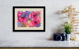 """Flowers and butterflies: Original mixed media small format artwork painting by Maura Satchell. 7.5"""" x 5.5"""" List: $135"""