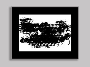 """Hint of a memory: Abstract minimalist painting in black on 12"""" x 10"""" white paper by Maura Satchell, artist."""